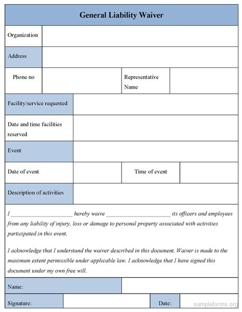 general liability waiver form sle forms