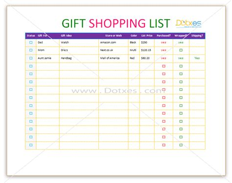 List Template Find Your One Now A Gift Shopping List Template With Check Boxes To Buy List Template