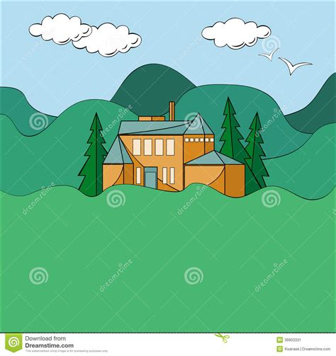 Log Cabin Style House Plans house in mountains stock vector image 39903331