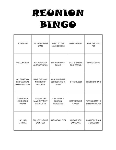 printable games for high school reunion bingo free printable