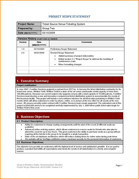 8 project scope statement exles letter template word