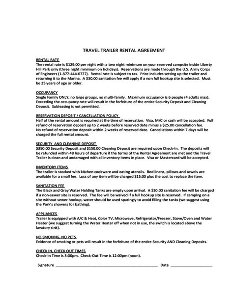 travel contract template travel trailer rental agreement free