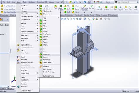 Combine 2 Sketches Solidworks by Tutorial Using Combine Feature To Create Part In