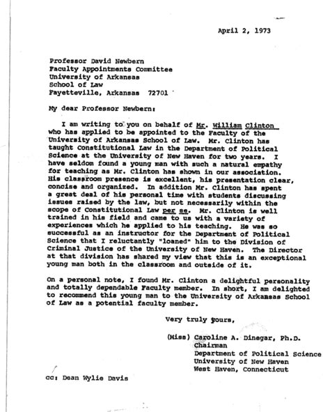 Letter Of Recommendation For Research Scientist Here S Bill Clinton S Personnel File From His Time As An Arkansas College Professor Buzzfeed News