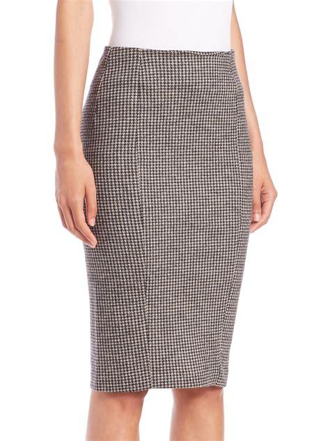 brown patterned pencil skirt max mara mida houndstooth pencil skirt in brown albino