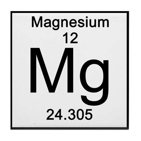 Magnesium On The Periodic Table by Periodic Table Magnesium Tile Coaster By Science Lady