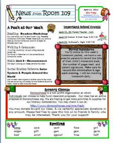 Classroom Weekly Newsletter Template by Primary Inspired Newsletter Linky