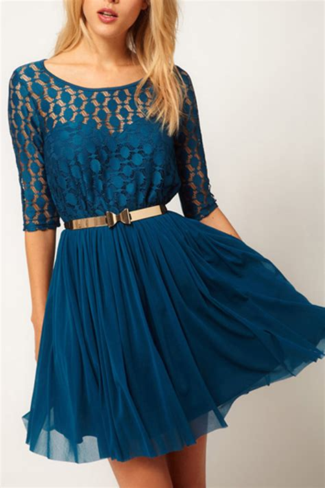 blue lace splicing  sleeve flared dress