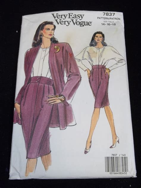 vogue pattern ease very easy vogue sewing pattern 7837 size 14 16 18 vtg 60s