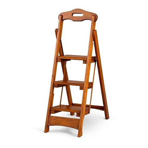 wooden folding step stool solid wood folding portable 3 step stool ladder kitchen