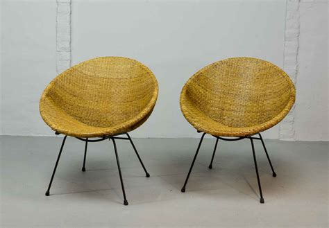 Circle Shaped Chair by Stylish Pair Of 1950 Circle Shaped Rattan Cocktail Chairs
