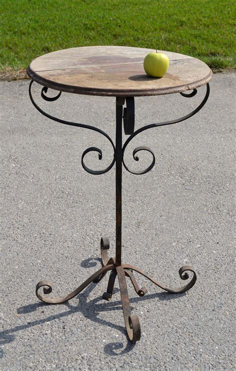 table fer forge plateau bois mobilier de jardin ancien vendu