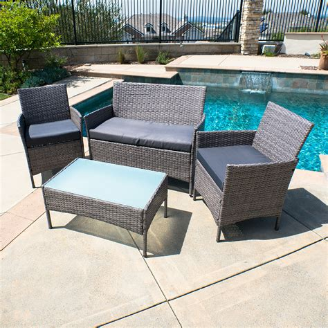 4 Pc Rattan Furniture Set Outdoor Patio Garden Sectional Wicker Sectional Patio Furniture
