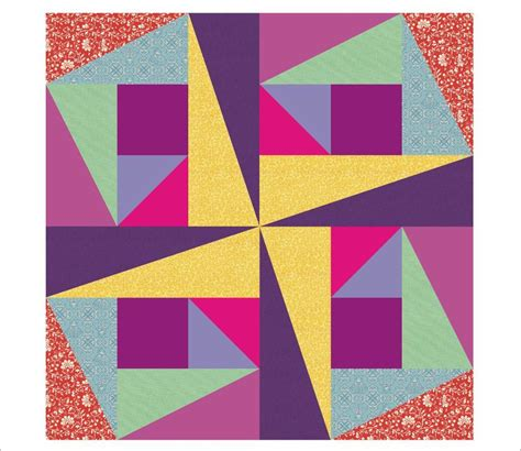 Pinwheel Quilt Block by Gipsy Pinwheel By 3patch Quilting Pattern