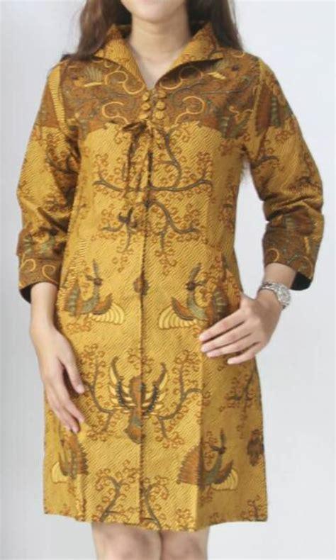 Dress Batik Tunik Sogan Zipper jual baju kerja batik tunik sogan semi tulis