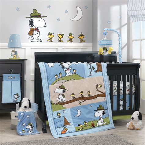 Snoopy S Cout 4 Piece Crib Bedding Set Lambs Ivy Snoopy Crib Bedding