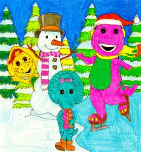 Barney And The Backyard Gang Intro Barney Baby Bop And Bj Playing In The Snow By