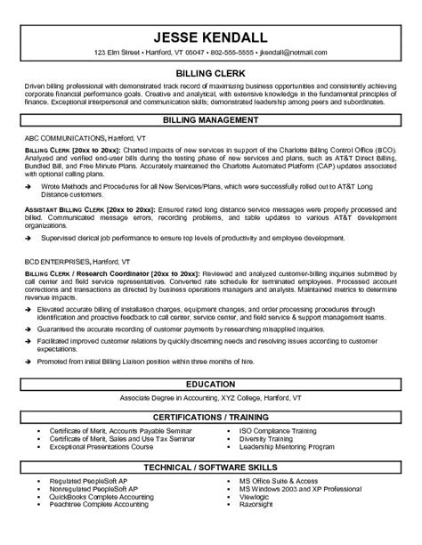 billing clerk resume sle sle resume for billing 28 images 28 billing resume sle