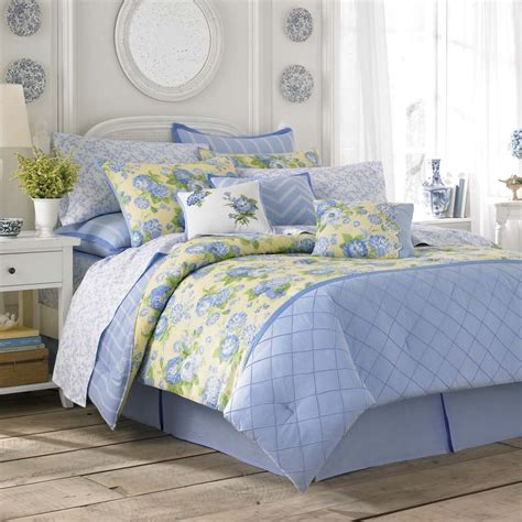 laura ashley salisbury blue yellow floral comforter set