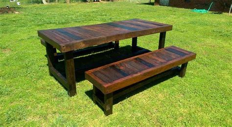table with two benches pallet garden dining set pallet furniture diy