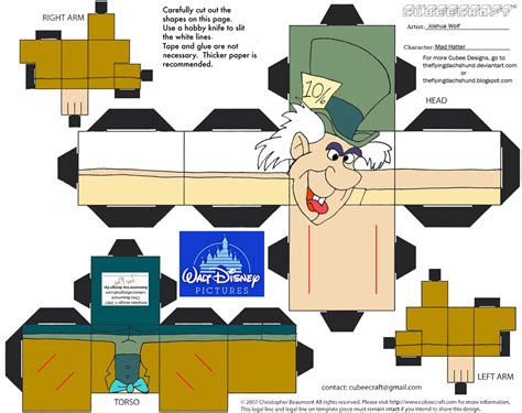 Deviantart Papercraft - dis19 mad hatter cubee by theflyingdachshund deviantart