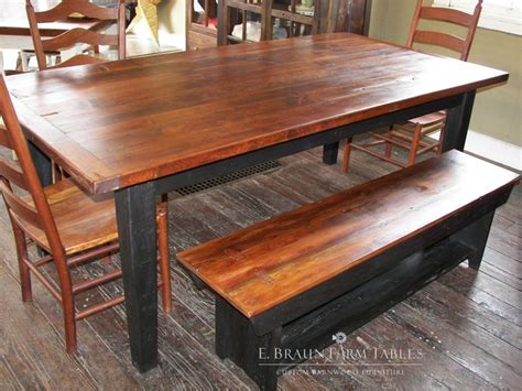 e braun farm tables 7 l yellow pine table with matching bench e braun farm