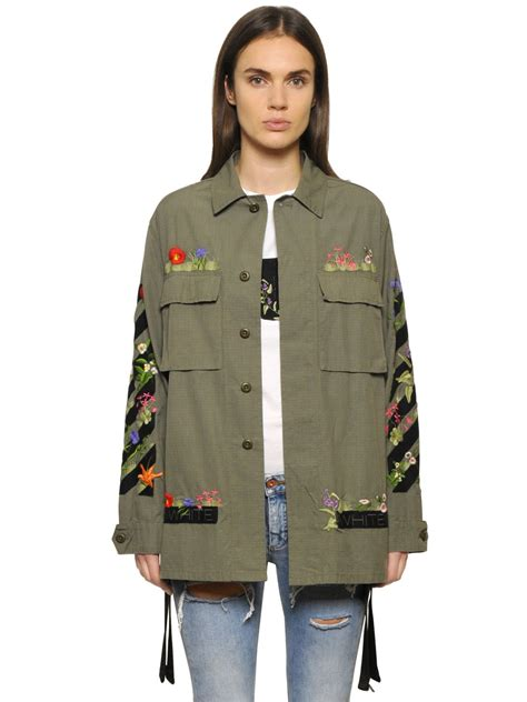 Parka Army Jacket Jacket Army Jaket Motif Army lyst white c o virgil abloh embroidered cotton