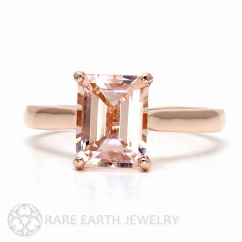 morganite ring 14k gold emerald cut morganite by