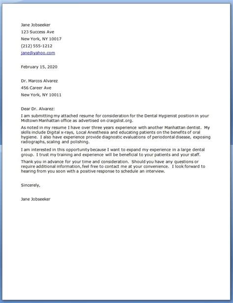 Dental Hygiene Cover Letter   Resume Downloads
