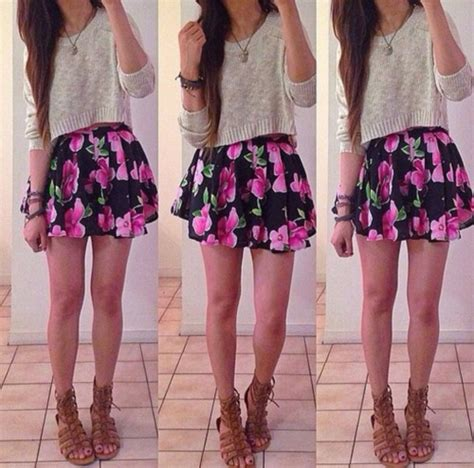 Cute Floral Skirt Outfits For Teens   skirt sweater cute outfit fashion teenagers