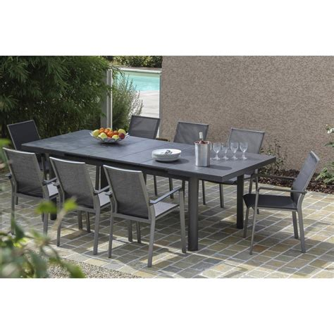 tables de jardin table de jardin bora rectangulaire gris 8 personnes leroy merlin