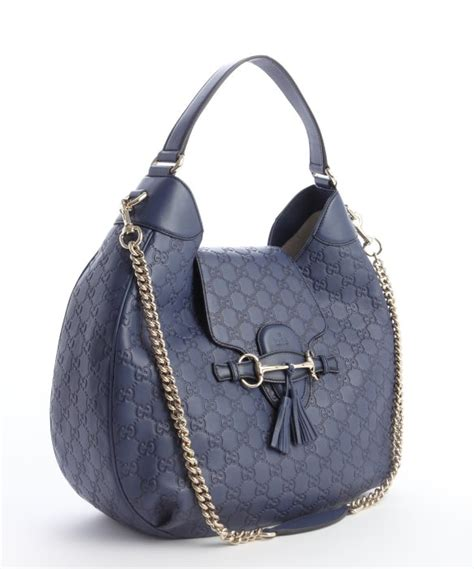 Gucci 2014 Blue gucci navy ssima leather emily hobo bag in blue lyst