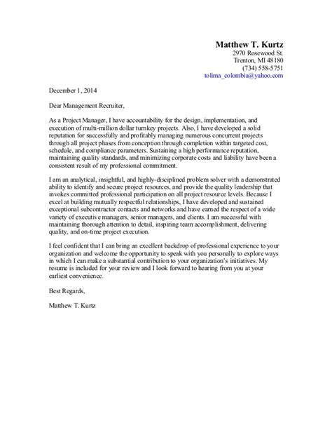cover letter for management business project manager cover letter