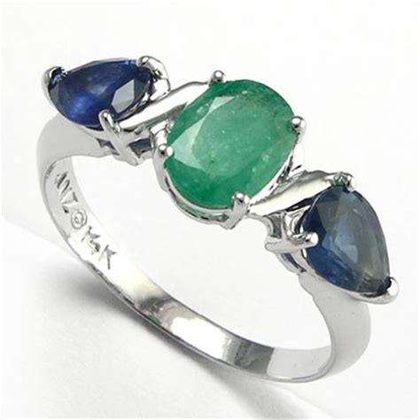 14k white gold genuine emerald and sapphire ring available