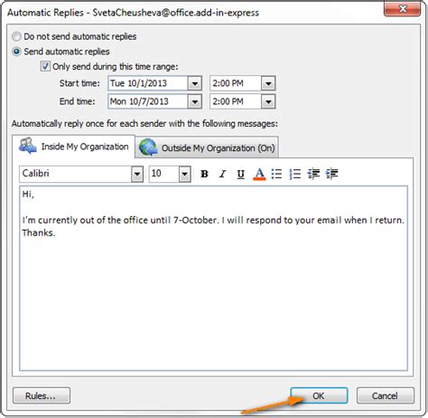 Out Of Office Message Outlook 2010 Template by Outlook Auto Reply Set Up Out Of Office Autoresponse In