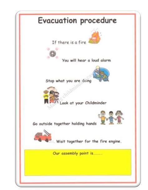 evacuation procedure template free childminder evacuation procedure poster childminding eyfs