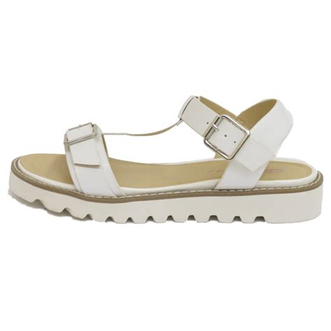 white dolcis flat buckle sandals flip flop t bar