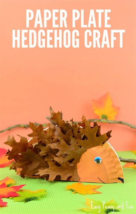paper plate and craft paper plate hedgehog craft fall crafts for easy