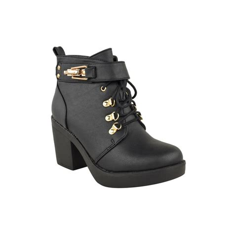 erica black heel ankle boots with gold clasp