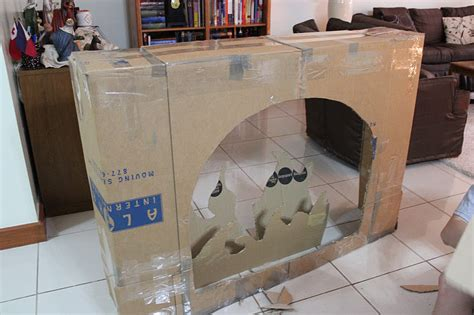 how to make a fireplace out of cardboard here and there will santa come to a cardboard fireplace