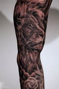 realistic grey 3d lion face tattoo on half sleeve photos