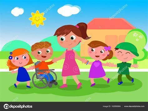 imagenes niños especiales profesor con ni 241 os cerca de la escuela vector de stock