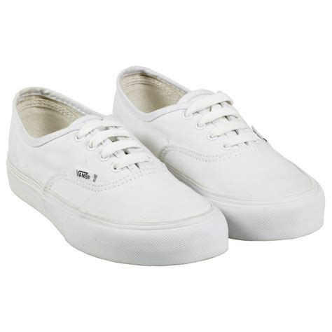 white sneakers vans authentic canvas skate sneaker lo top white