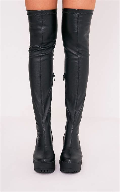 Teresa Platform Black teresa black faux leather platform the knee boots