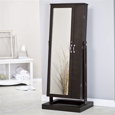 Standing Mirror With Jewelry Cabinet by Floor Standing Jewelry Armoire Mirror Caymancode