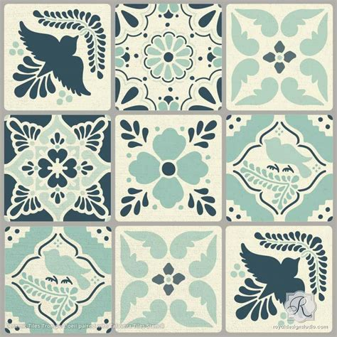 pattern tile stencils mexican talavera tiles wall furniture stencils royal