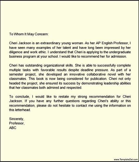 Recommendation Letter Junior High Student Letter Of Recommendation For Middle School Student Templatezet
