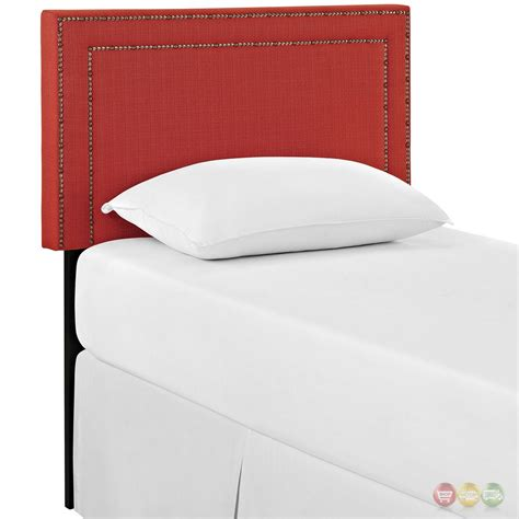 red headboard double jessamine twin fabric square headboard with double