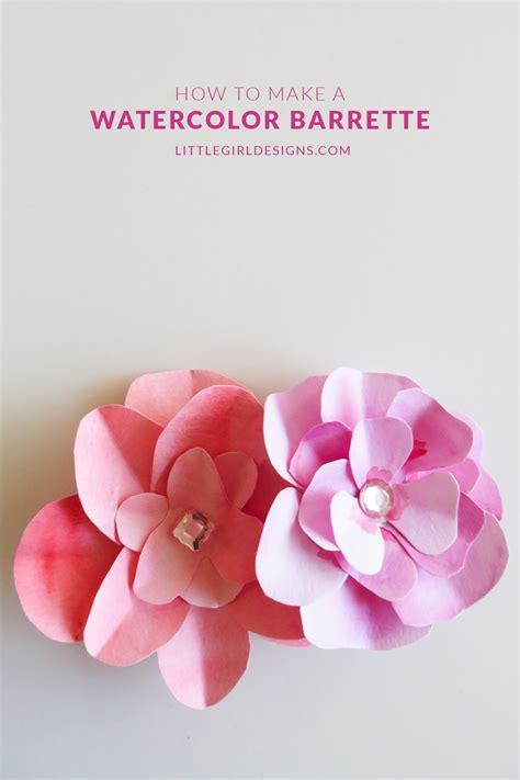 make a watercolor flower barrette designs
