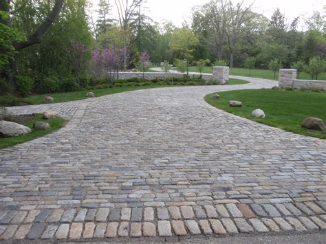 Homes With Stone Facades And Paver Driveways Haammss Granite Patio Pavers